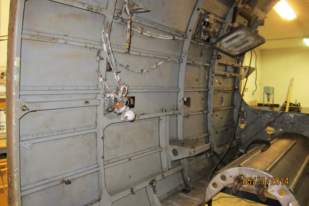 Starboard side of the cockpit for cleaning using dry ice blasting.