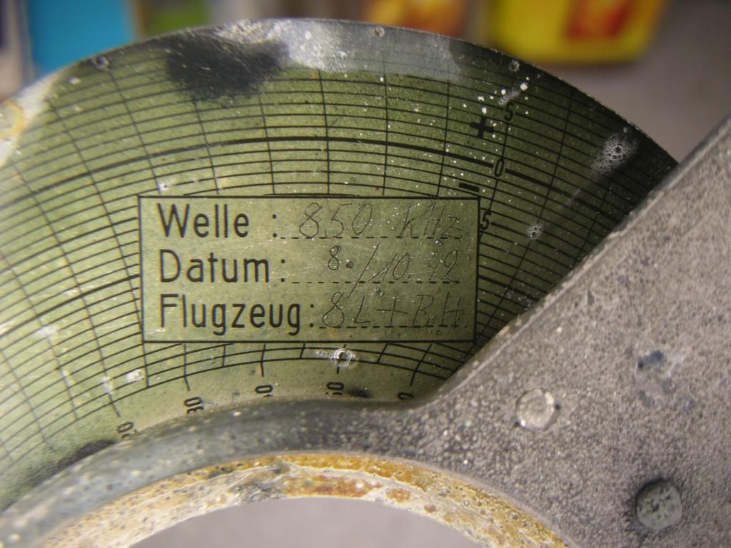 Detaljbilde av skivens merking